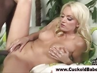 Cuckold bitch fucked and lets cuckold hubby gets cumshot